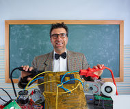 Nerd electronics technician retro silly expression Stock Images