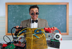 Nerd electronics technician retro silly expression Stock Photo