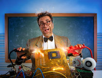 Nerd electronics technician short circuit lightning Royalty Free Stock Photography