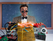 Nerd electronics technician short circuit lightning Royalty Free Stock Images