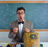 Nerd electronics technician silly expression PCB Royalty Free Stock Photo
