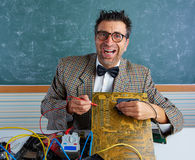 Nerd electronics technician silly expression PCB Royalty Free Stock Photography