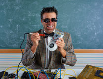 Nerd electronics technician silly welding robot Stock Image