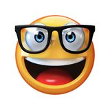 Nerd emoji isolated on white background, emoticon with glasses. 3d rendering stock illustration