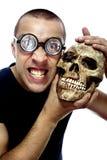 Nerd en schedel royalty-vrije stock fotografie