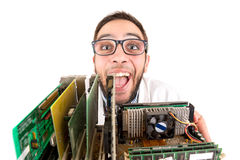 Nerd engineer posing. With computer components isolated in a white background Royalty Free Stock Photo
