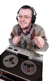 Nerd Enjoying Music Royalty Free Stock Photography