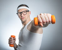 Nerd exercise with small weight Stock Photography