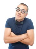 Nerd in eyeglasses and bow tie Royalty Free Stock Image