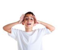 nerd för unge för uttrycksexponeringsglas lycklig royaltyfri foto