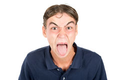 Nerd faces. Teenager nerd boy making faces isolated in white Stock Photo