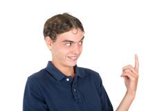 Nerd faces. Teenager nerd boy making faces isolated in white Stock Image