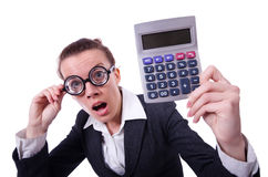 Nerd female accountant Royalty Free Stock Photos