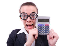 Nerd female accountant Stock Images