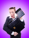 Nerd female accountant with calculator Royalty Free Stock Image