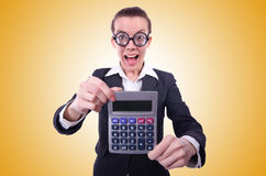 The nerd female accountant with calculator Stock Photography