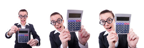 The nerd female accountant with calculator Stock Image