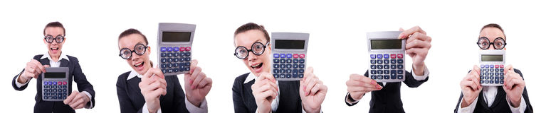 The nerd female accountant with calculator Stock Photos