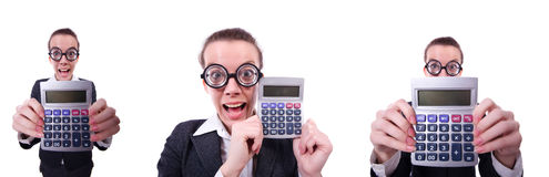 The nerd female accountant with calculator Royalty Free Stock Photo