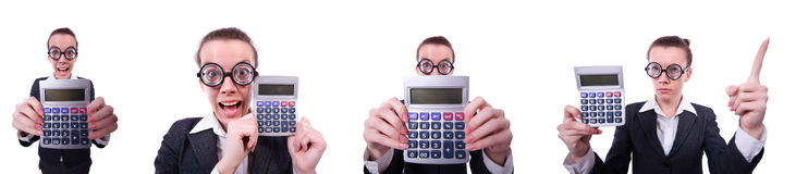 The nerd female accountant with calculator Stock Photo