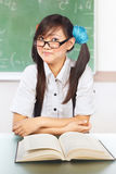 Nerd female student Stock Images