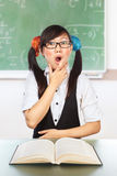 Nerd female student Royalty Free Stock Image