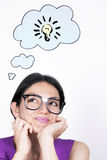 Nerd Female Thinking Royalty Free Stock Photos