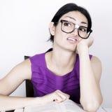 Nerd Female Thinking Royalty Free Stock Photography