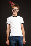 Nerd in funny glasses Royalty Free Stock Images