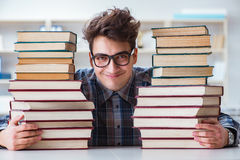 The nerd funny student preparing for university exams Royalty Free Stock Images