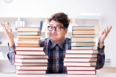 The nerd funny student preparing for university exams Stock Photography