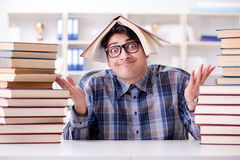 The nerd funny student preparing for university exams Stock Photos
