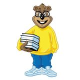 Nerd Geek Bear Holding Books. Cartoon Vector Stock Photos