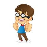 Nerd Geek giving thumbs up Stock Image
