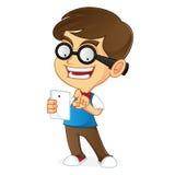 Nerd Geek holding tablet vector illustration