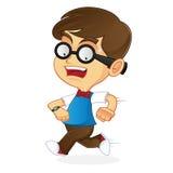 Nerd Geek running late Royalty Free Stock Image