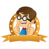 Nerd Geek giving thumbs up Royalty Free Stock Photography