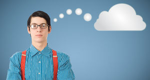 Nerd geek businessman thinking cloud or computing Stock Photo
