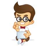 Nerd Geek holding laptop stock illustration