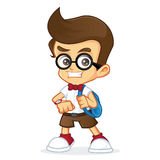 Nerd Geek ready to school Stock Image
