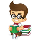 Nerd Geek read a book Stock Photo