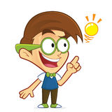Nerd geek creative idea. Clipart picture of a nerd geek cartoon character creative idea Stock Illustration