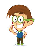 Nerd geek giving thumbs up. Clipart picture of a nerd geek cartoon character giving thumbs up vector illustration