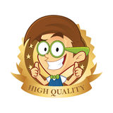 Nerd geek with guarantee icon royalty free illustration