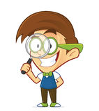 Nerd geek holding a magnifying glass royalty free illustration