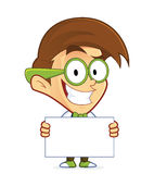 Nerd geek holding sign. Clipart picture of a nerd geek cartoon character holding sign royalty free illustration