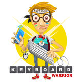 Nerd Geek Keyboard Warrior illustration Stock Photography
