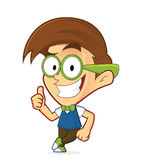 Nerd geek leaning on an empty block. Clipart picture of a nerd geek cartoon character leaning on an empty block royalty free illustration