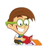 Nerd geek reading book. Clipart picture of a nerd geek cartoon character reading book royalty free illustration