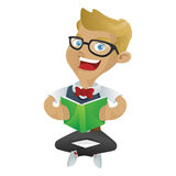 Nerd geek reading book. Isolated in white background stock illustration